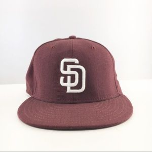 Lids San Diego New Era fitted Hat 7 3/8 burgundy